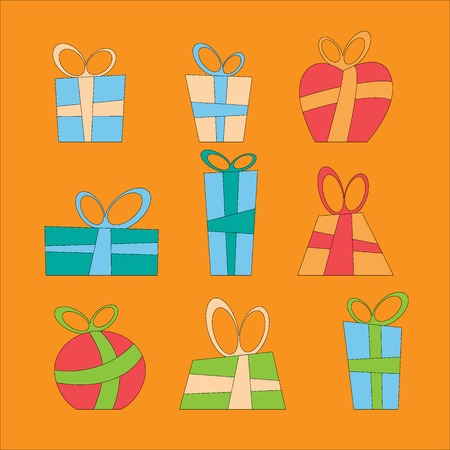 decorative items: Collection of vector colorful Christmas present boxes. Decorative items.