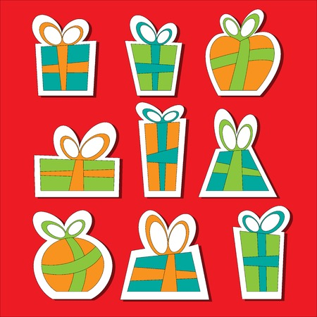 decorative items: Collection of vector colorful Christmas present boxes. Decorative items. Sticks.