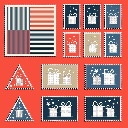 Large set of colorful CHristmas postage stamps. Vintage New Year decoration elements. Vector