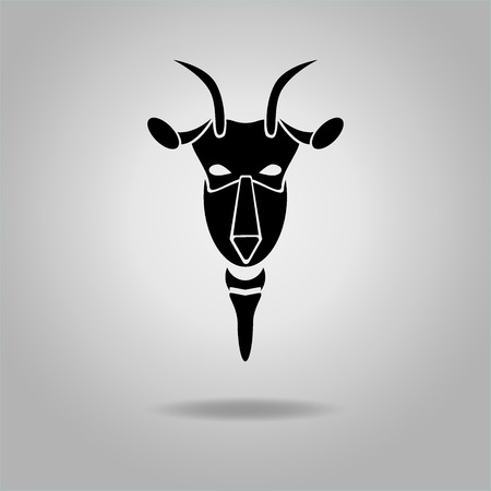 classical mythology character: Black Goat Head Vector Design dark outline. New Year 2015 illustration. Vector illustration. Modern goats head.