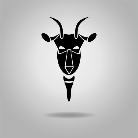 Black Goat Head Vector Design dark outline. New Year 2015 illustration. Vector illustration. Modern goats head.