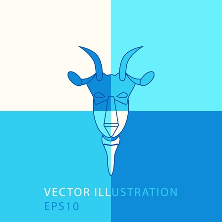 Colorful Goat Head Vector Design outline. New Year 2015 illustration. Vector illustration. Modern goats head. Vector