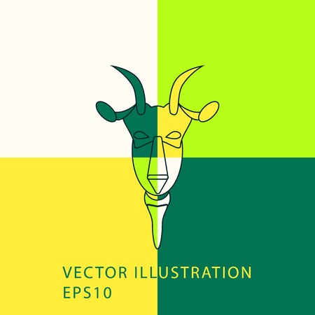 Colorful Goat Head Vector Design outline. New Year 2015 illustration. Vector illustration. Vector