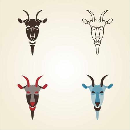 Vector image set of goat head on white background. New Year 2015 illustration. Vector illustration. Vector