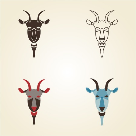 classical mythology character: Vector image set of goat head on white background. New Year 2015 illustration. Vector illustration.