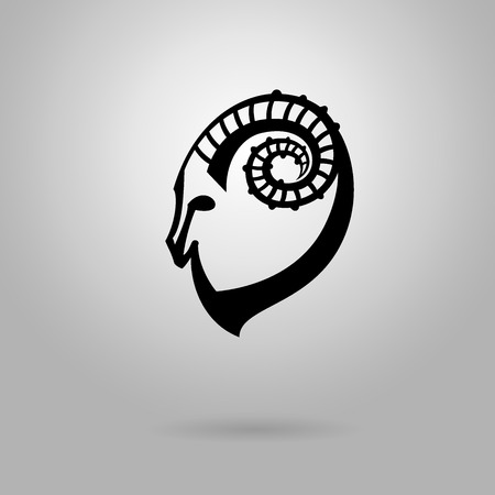 Stylized black silhouette of goats head. Ibex sign on white background. Vector illustration. Vector
