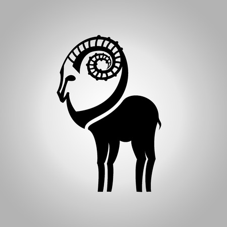 Stylized black silhouette of goats figure. Ibex sign on white background. Vector illustration. Vector