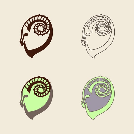 Stylized set of black and colorful silhouettes of goats head. Ibex signs on white background. Vector illustration. Vector