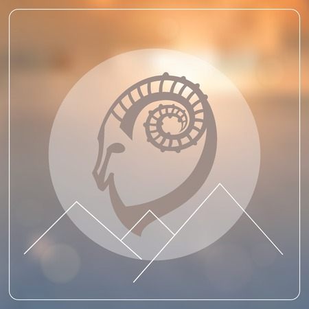 Stylized hipster silhouette of goats head inside the circle on blured background. Ibex sign with mountains. Vector illustration. Vector