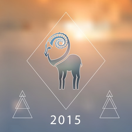 Stylized hipster silhouette of goat inside the rhomb on blured background. Ibex symbol. Vector illustration. Vector