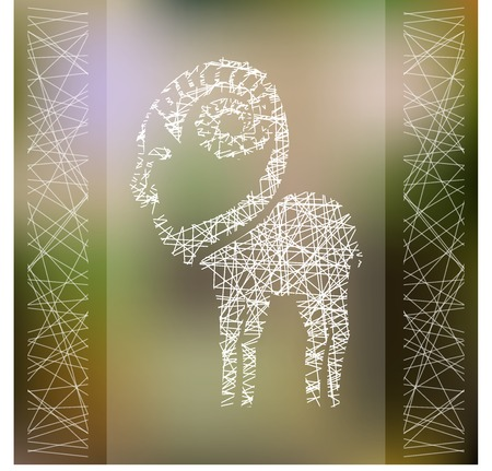 Stylized hipster hatched silhouette of goat on blured background. Ibex symbol. Vector illustration. Vector
