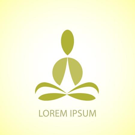 Green yoga pose vector logo design template. Beauty, Spa, Relax, Massage, Meditation, Nirvana concept icon. Vector