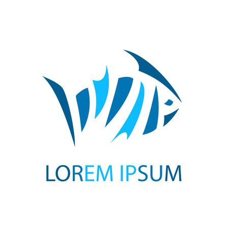 mariscos: Color abstracto plantilla icono Fish. Mar del vector elemento de diseño.