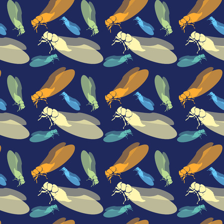 cicada: Seamless pattern with insects Illustration