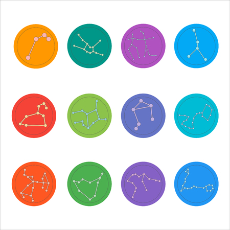 constellations: Zodiac constellations. Flat thin set of simple round zodiac constellations icons on color background - for web and print.Vector illustration