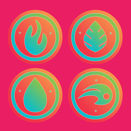 the four elements: Natural elements -  vector icons set. Set of four elements vector symbols -  fire, water, air, ground.