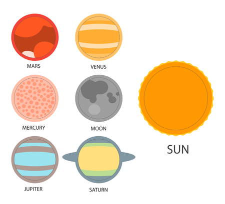 analogy: Vector set of astrological planets. Modern Flat thin set of zodiac and horoscope planets. Editable. Illustration