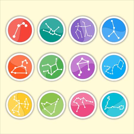 costellazioni: Costellazioni dello zodiaco. Insieme sottile piatto di semplice zodiaco rotondo costellazioni icone su sfondo di colore - per il web e print.Vector illustrazione Vettoriali