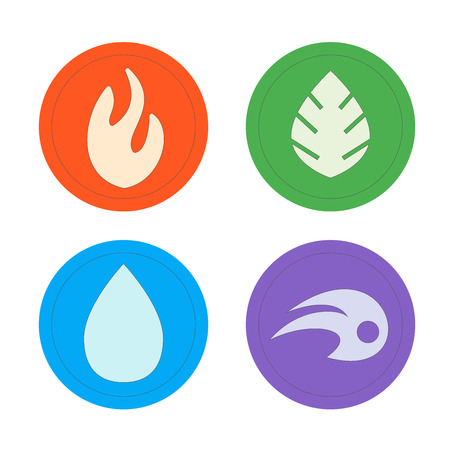 four elements: Natural elements -  vector icons set. Set of four elements vector symbols -  fire, water, air, ground.