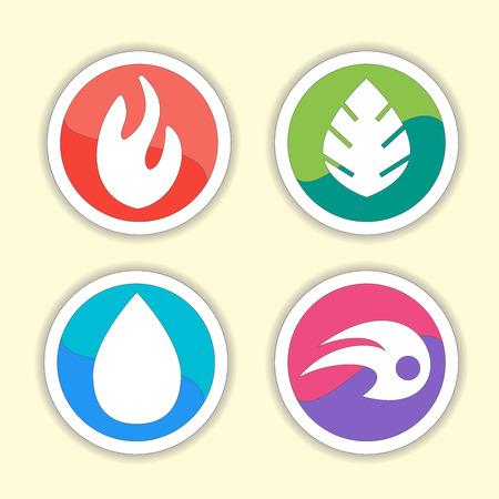 cuatro elementos: Los elementos naturales - iconos conjunto de vectores. Conjunto de cuatro elementos símbolos vector - fuego, agua, aire, suelo.
