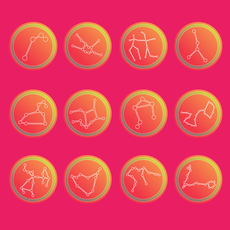 zodiac constellations: Zodiac constellations. Flat thin set of simple round zodiac constellations icons on color background - for web and print.Vector illustration