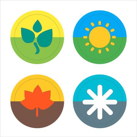 scorching: Four seasons flat thin icon set. Vector illustration of winter, Spring, Summer, Autumn symbols. Editable.