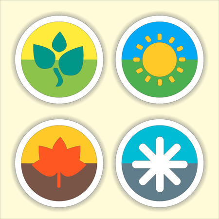 four month: Four seasons flat thin icon set. Vector illustration of winter, Spring, Summer, Autumn symbols. Editable.