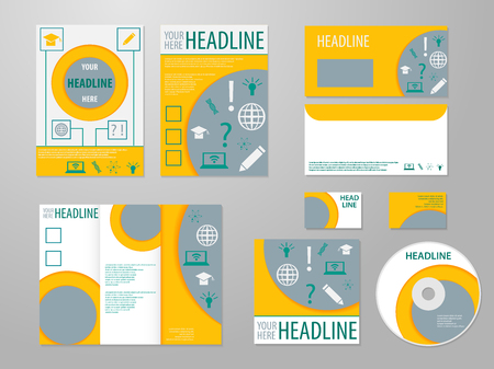 magazine page: Professional corporate identity or business kit with science abstract design for your business includes CD, Cover, Business Card, Envelope and trif-old brochure. Eco, biology, beauty concept.