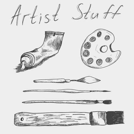 paint palette: Hand drawn set of artist stuff. Tube of Paint, palette, paint-scraper and brushes. Illustration