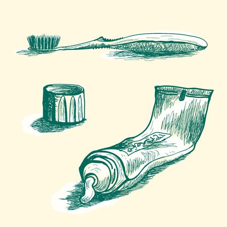 Hand gezeichnet Tube Zahnpasta, Kappe und toothbrash Vektor von extrudierten Zahnpasta. Vektorgrafik