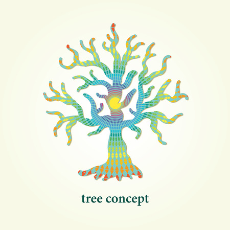 broshure: Stylized vector tree illustration with pattern inside. Design element for eco and health  and background, broshure, poster and flyer. Illustration