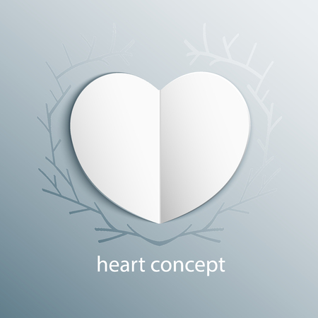 farme: Paper origami heart concept in branch frame. Vector Heart on Frozen glass  backround with ice floral ornament. Shape of isolated vector carved heart.