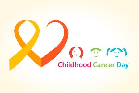 infancia: El cáncer infantil ilustración del vector del día. concepto corazón cinta del cáncer con los niños.