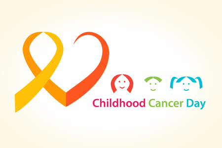 Childhood cancer day vector illustration. Cancer Ribbon heart concept with children.