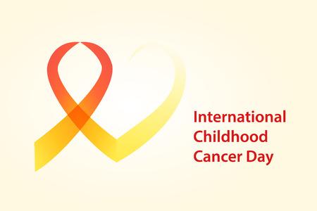 childhood cancer: Childhood cancer day illustration. Cancer Ribbon with heart vector concept . Illustration