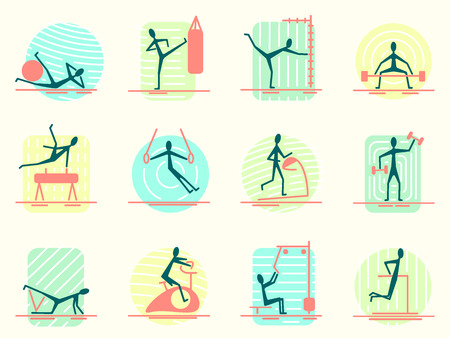 sport equipment: Set of sport equipment icons with person making different gym activity. Athletic, body building, training and workout exercises Pictogram Icons.