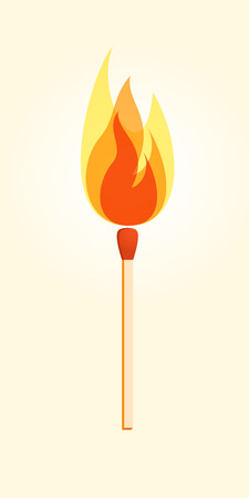 pyrotechnics: Safety match with flame.  Silhouette of safety match. Vector Illustration. Eps 10. Illustration