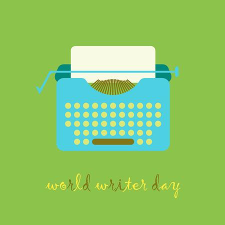 writer: Typewriter illustration in flat vintage style. World Writer Day.