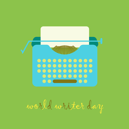 scriptwriter: Typewriter illustration in flat vintage style. World Writer Day.