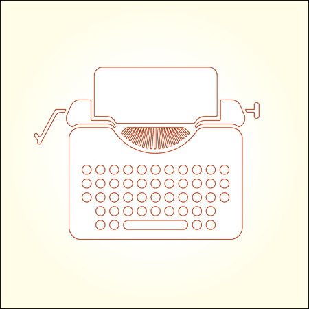 scriptwriter: Typewriter thin line icon illustration.