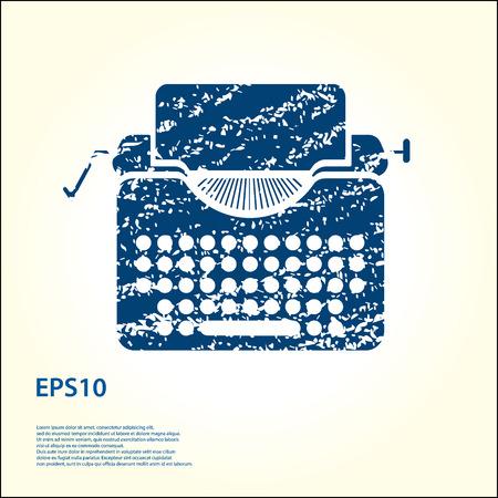 Typewriter grunge icon illustration.