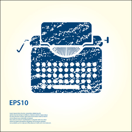 scriptwriter: Typewriter grunge icon illustration.
