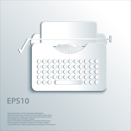 Typewriter illustration concept in paper origami 3d style.