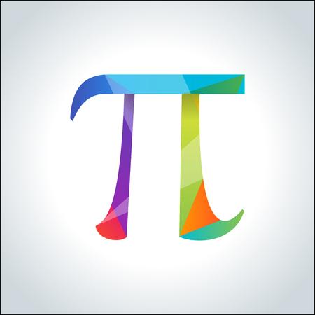 diameter: Pi symbol icon. Pi sign in polygon geometric style. Isolated illustration.