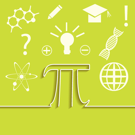pi: set of flat line of science infographic. Inspiration, idea and discovery theme. Pi symbol concept. illustration. Illustration