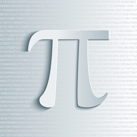 constant: Pi symbol icon with numbers. Pi sign in paper origami 3d style. Isolated illustration.