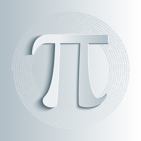 constant: Pi symbol icon with numbers in circular pattern . Pi sign in paper origami 3d style. Isolated illustration.