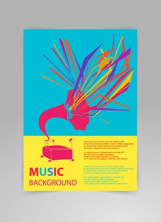 Muziek achtergrond sjabloon met grammofoon en geometrische structuren. Concept van concert poster of een met grammofoon in moderne stijl op een zwarte achtergrond.