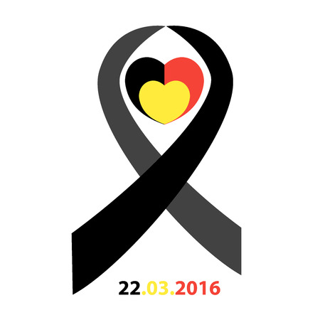 commemoration: Belgian flag heart with ribbon in commemoration of the victims of the Brussels terrorist attack
