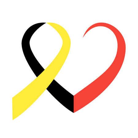 commemoration: Belgian flag ribbon in commemoration of the victims of the Brussels terrorist attack